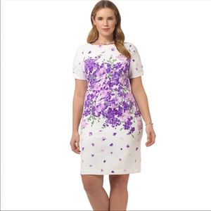Adrianna Papell Purple Floral Midi Dress